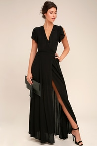 Heart Of Marigold Black Wrap Maxi Dress at Lulus.com!