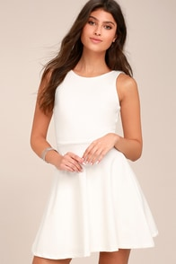Craving You White Backless Skater Dress at Lulus.com!