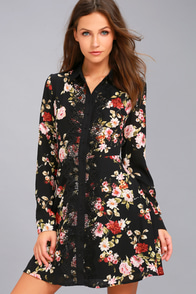 Absolute Opulence Black Floral Print Long Sleeve Shirt Dress at Lulus.com!
