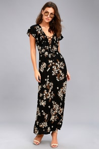 Amuse Society Alana Black Floral Print Lace-Up Maxi Dress at Lulus.com!