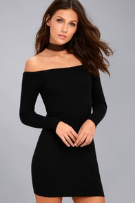 Obey Binx Black Off-the-Shoulder Bodycon Sweater Dress at Lulus.com!