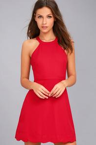Mamacita Red Halter Skater Dress