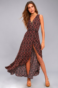 Evening Blossom Black Floral Print High-Low Wrap Dress at Lulus.com!