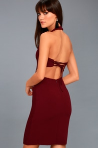 Uniquely Chic Burgundy Bodycon Halter Dress