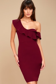 Give Me a Beat Burgundy Off-the-Shoulder Bodycon Midi Dress 1