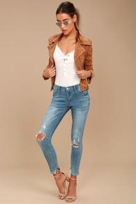 Trend Savvy Medium Wash Distressed Skinny Jeans