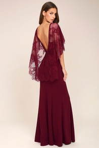 1930s Style Fashion Dresses Amelie Burgundy Lace Maxi Dress $98.00 AT vintagedancer.com