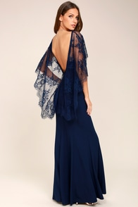Vintage Evening Dresses and Formal Evening Gowns Amelie Navy Blue Lace Maxi Dress $98.00 AT vintagedancer.com