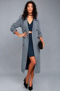 1920s Style Coats Workday Runway Slate Blue Trench Coat $89.00 AT vintagedancer.com
