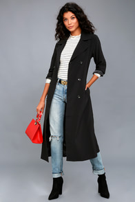 1920s Style Coats Workday Runway Black Trench Coat $89.00 AT vintagedancer.com
