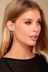 Shooting Star Silver Rhinestone Star Earrings 1