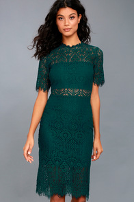 Remarkable Forest Green Lace Dress at Lulus.com!
