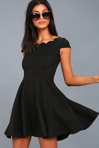 Dearest Dreams Black Suede Skater Dress