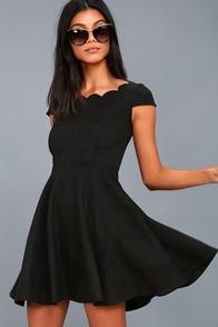 Dearest Dreams Black Suede Skater Dress 1
