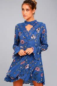 New You Royal Blue Floral Print Lace Long Sleeve Swing Dress at Lulus.com!