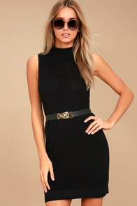Molly Black Sleeveless Sweater Dress at Lulus.com!