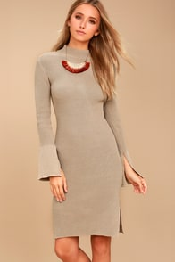 Aleina Beige Bodycon Midi Sweater Dress at Lulus.com!