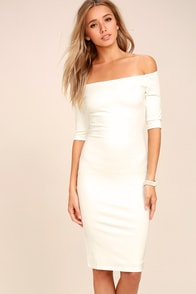 Girl Can't Help It Ivory Off-the-Shoulder Midi Dress at Lulus.com!