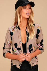 Ambre Taupe Floral Print Bomber Jacket at Lulus.com!