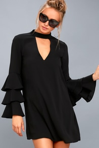 Aesthetic Aspirations Black Flounce Sleeve Shift Dress at Lulus.com!