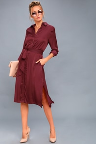 Nine To Thrive Burgundy Long Sleeve Midi Shirt Dress at Lulus.com!