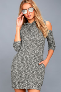 Just You And Me Heather Grey Cold-Shoulder Hoodie Dress at Lulus.com!