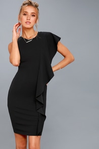 Tender-Hearted Black One Shoulder Bodycon Midi Dress at Lulus.com!