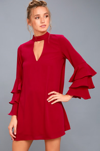 Aesthetic Aspirations Red Flounce Sleeve Shift Dress at Lulus.com!