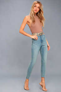 Donna Light Blue High-Waisted Skinny Jeans at Lulus.com!