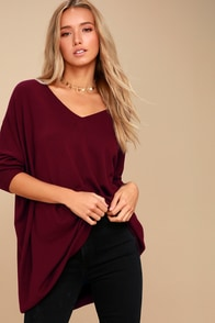 Ticket To Cozy Burgundy Oversized Sweater at Lulus.com!
