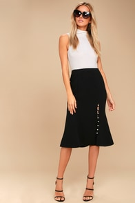 Check It Out Black Pearl Midi Skirt at Lulus.com!