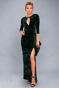 Keep Love Alive Forest Green Velvet Maxi Dress at Lulus.com!