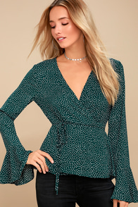 Love Is Enough Forest Green Polka Dot Wrap Top at Lulus.com!