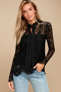 Lovely Lady Black Lace Long Sleeve Button-Up Top at Lulus.com!