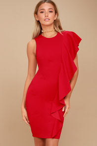 Tender-Hearted Red One Shoulder Bodycon Midi Dress at Lulus.com!