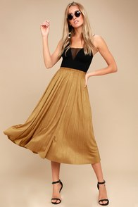Laken Tan Vegan Suede Midi Skirt at Lulus.com!