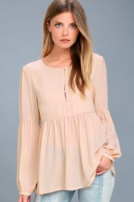 Primrose And Proper Blush Long Sleeve Top at Lulus.com!