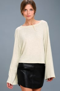 Lillian Beige Long Sleeve Sweater Top at Lulus.com!