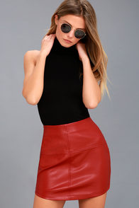 Pop Star Red Vegan Leather Mini Skirt