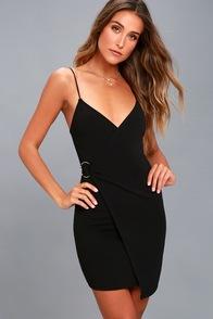 Make My Night Black Bodycon Wrap Dress