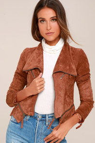 Ready For Anything Rust Orange Suede Moto Jacket at Lulus.com!