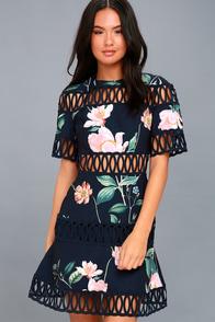 Whispers Navy Blue Floral Print Skater Dress