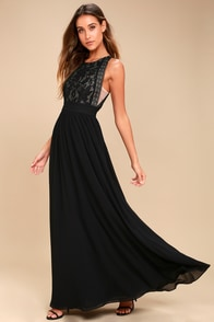 Forever and Always Black Lace Maxi Dress