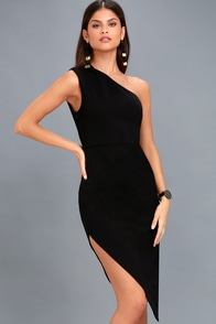Love Like This Black One-Shoulder Bodycon Midi Dress