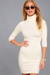 Snow Bunny Ivory Turtleneck Sweater Dress at Lulus.com!