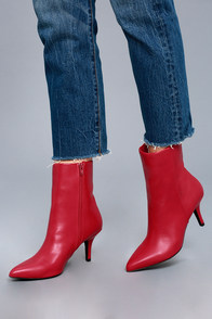 Retro Boots, Granny Boots, 70s Boots East Village Red Mid-Calf Boots $43.00 AT vintagedancer.com