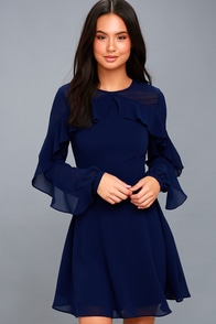 Longtime Love Navy Blue Long Sleeve Skater Dress at Lulus.com!