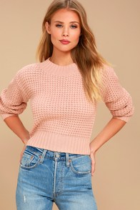 Vintage Sweaters: Cable Knit, Fair Isle Cardigans & Sweaters Campfire Cozy Blush Pink Cropped Sweater $43.00 AT vintagedancer.com