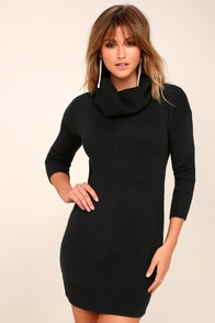 Tea Reader Black Sweater Dress at Lulus.com!