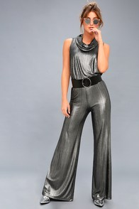 Vintage High Waisted Trousers, Sailor Pants, Jeans Leonardo Metallic Gunmetal Wide-Leg Pants $57.00 AT vintagedancer.com